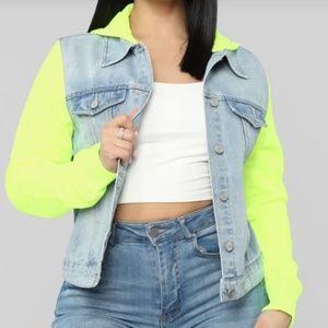 Denim jacket neon lime sleeves